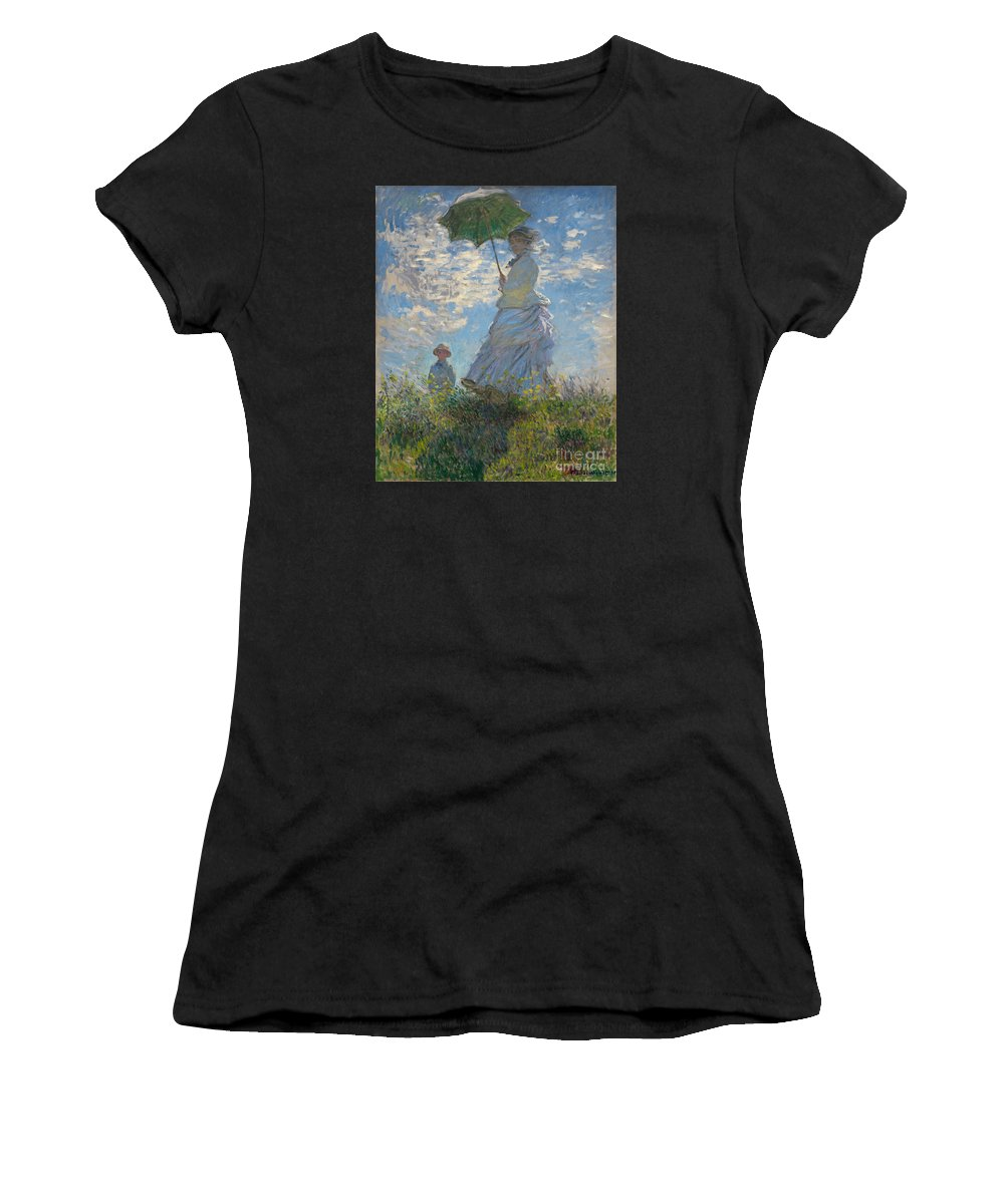 Monet Women's T-Shirt (Athletic Fit) featuring the painting Monet , Woman With A Parasol by Celestial Images