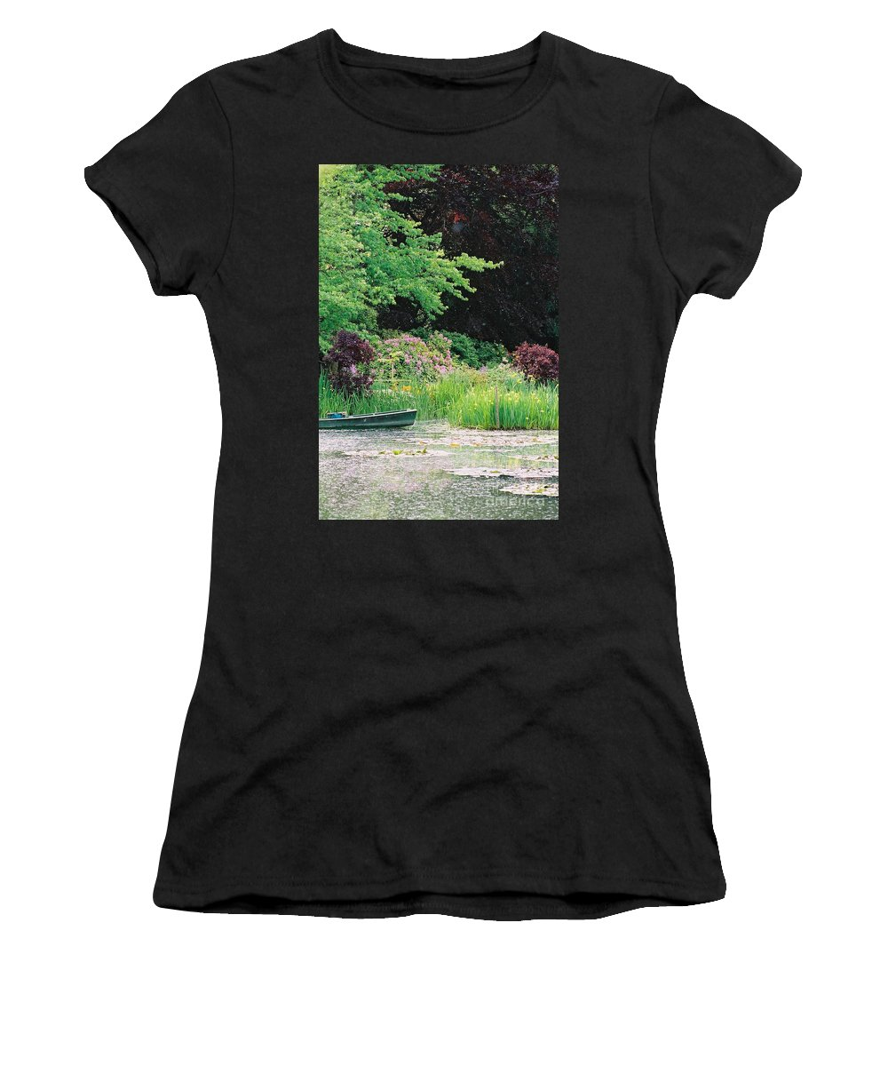 Monet Women's T-Shirt (Athletic Fit) featuring the photograph Monet's Garden Pond And Boat by Nadine Rippelmeyer