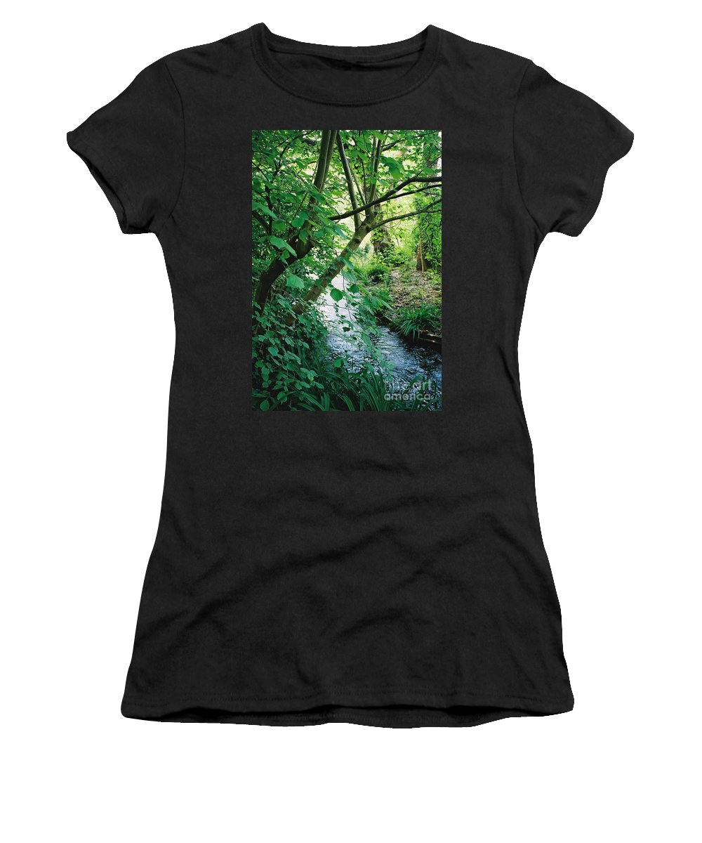 Photography Women's T-Shirt (Athletic Fit) featuring the photograph Monet's Garden Stream by Nadine Rippelmeyer