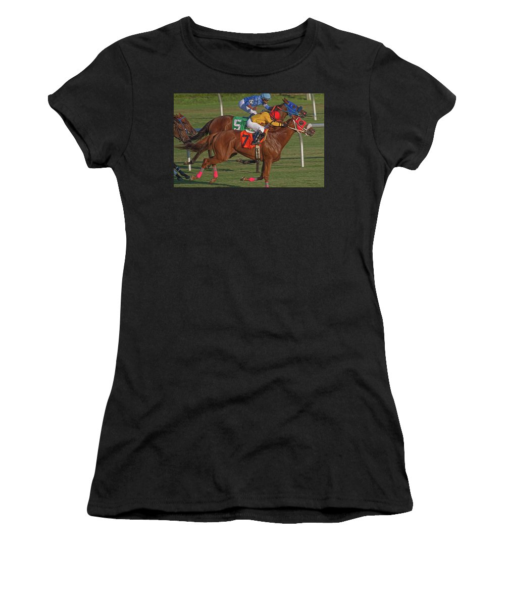 Horse Women's T-Shirt (Athletic Fit) featuring the photograph Money On The Chestnut by Betsy Knapp