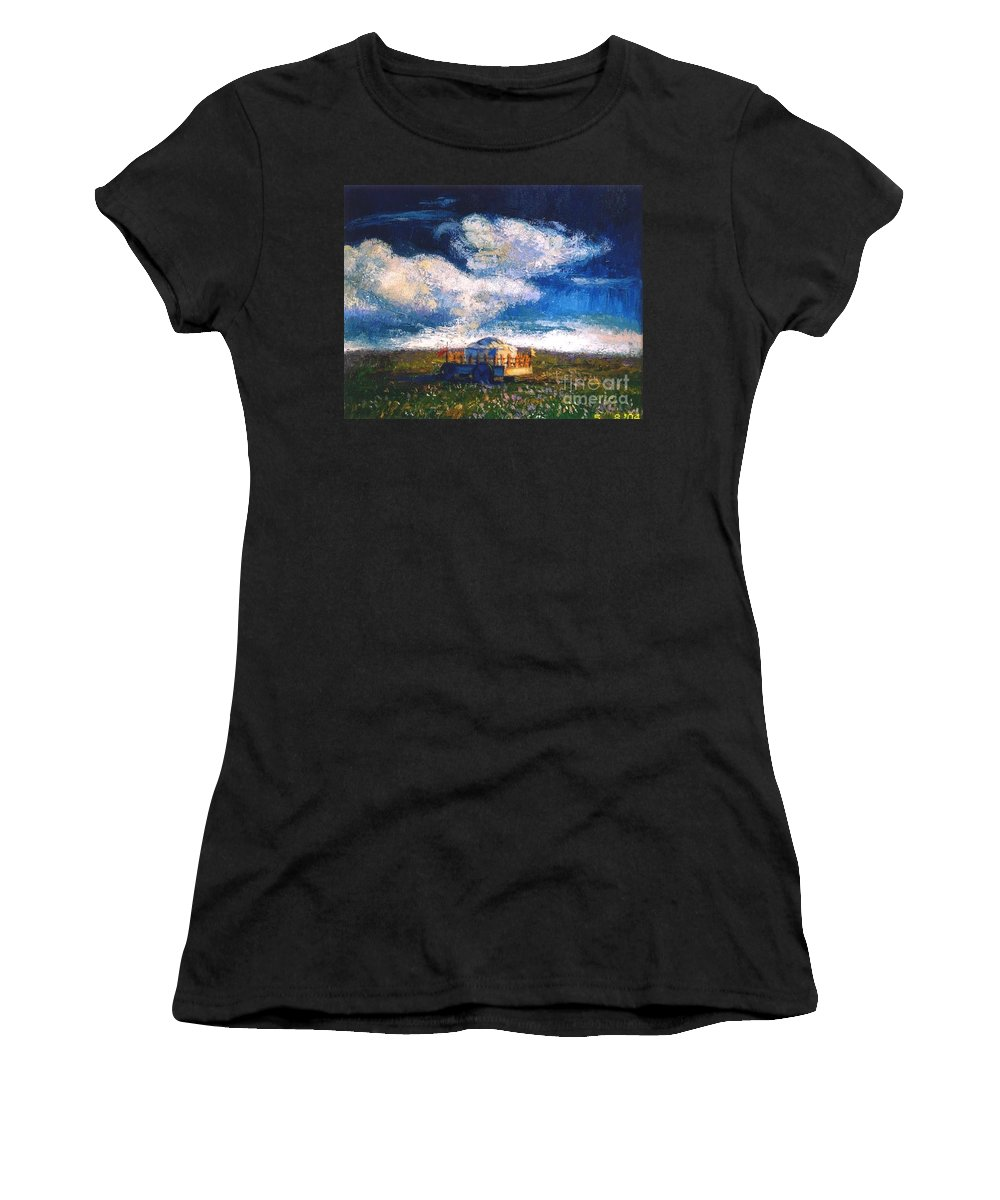 Momgolian Women's T-Shirt (Athletic Fit) featuring the painting Mongolian Home by Meihua Lu