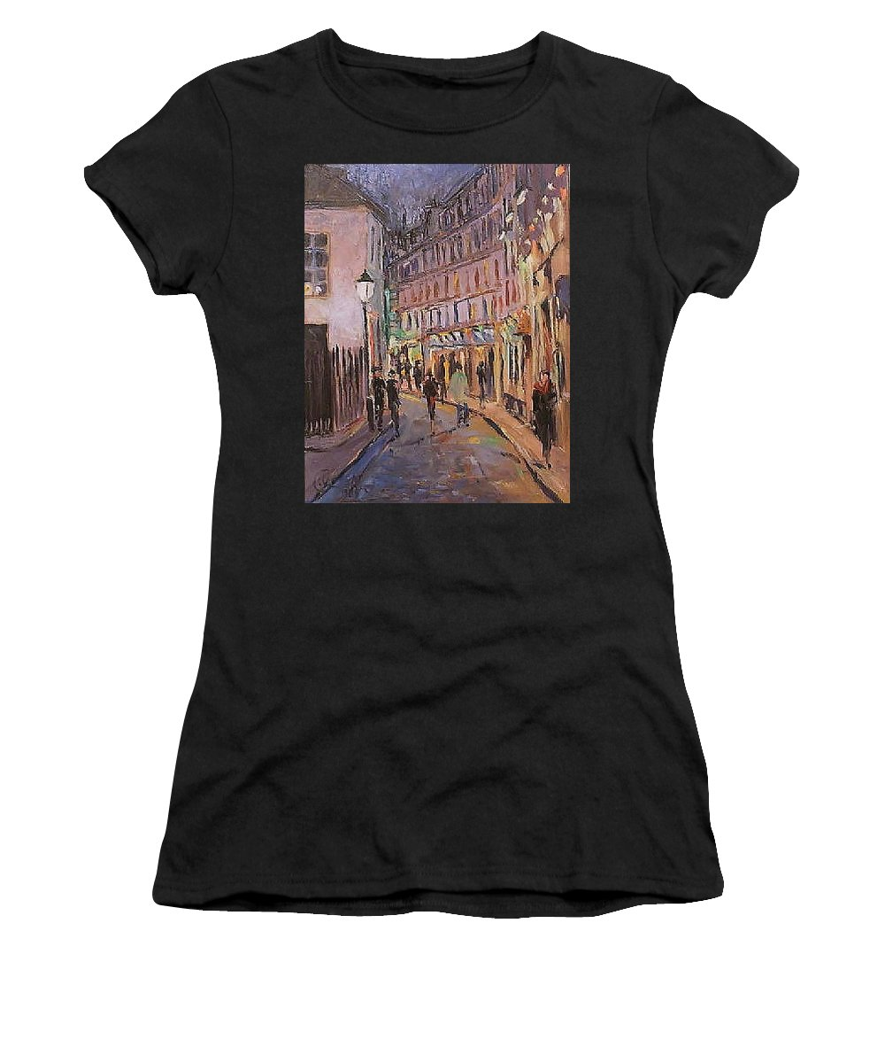Paris Women's T-Shirt featuring the painting Monmartre by Walter Casaravilla