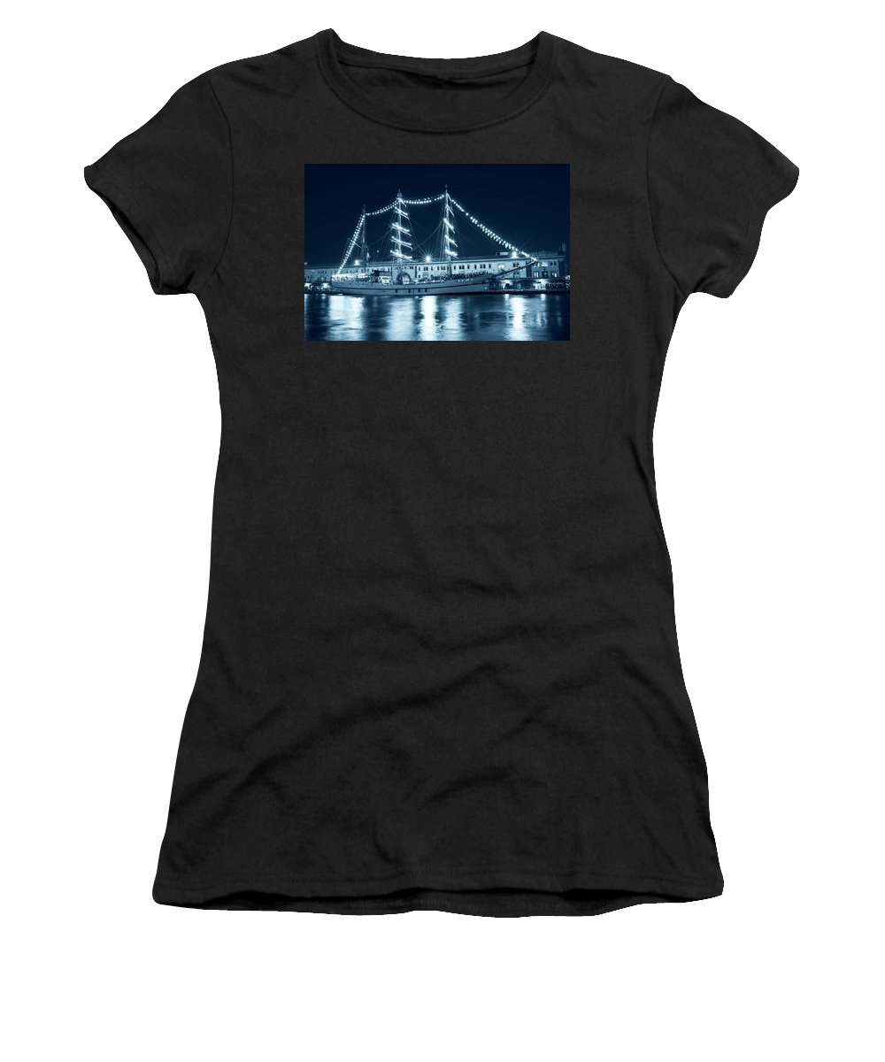 Boston Women's T-Shirt featuring the photograph Monochrome Blue Boston Tall Ships At Night Boston Ma by Toby McGuire