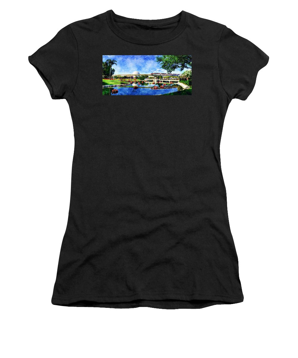 Epcot Women's T-Shirt (Athletic Fit) featuring the digital art Monorail Red - Coming 'round The Bend by Sandy MacGowan