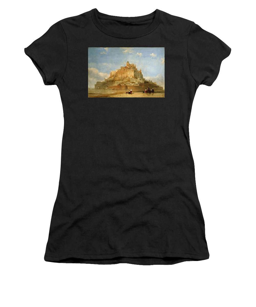 Nature Women's T-Shirt (Athletic Fit) featuring the painting Mont St Michel From The Sands By David Roberts by David Roberts