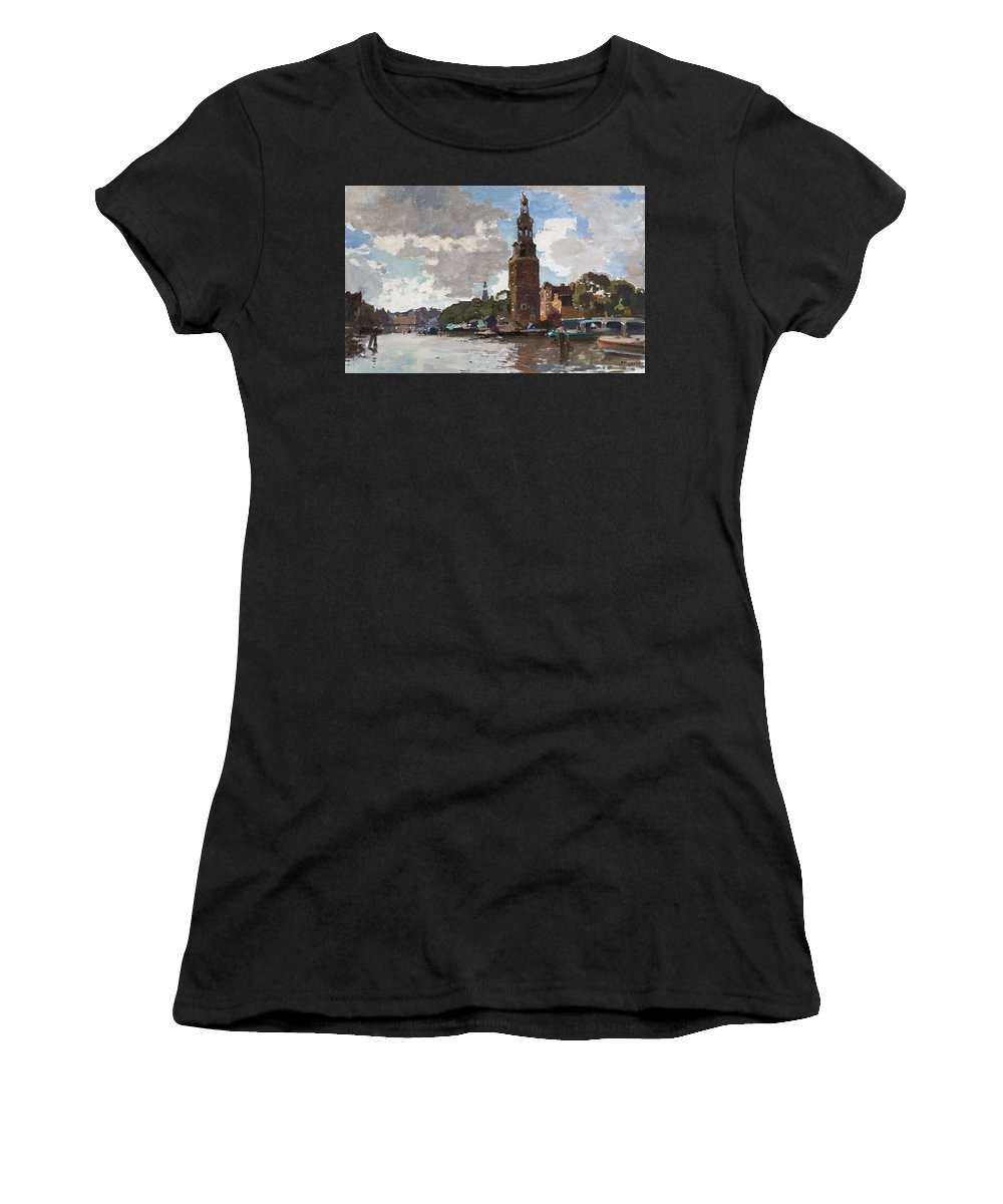 Nature Women's T-Shirt (Athletic Fit) featuring the painting 'montelbaanstoren' In Amsterdam By Cornelis Vreedenburgh Dutch 1880-1946 by Cornelis Vreedenburgh