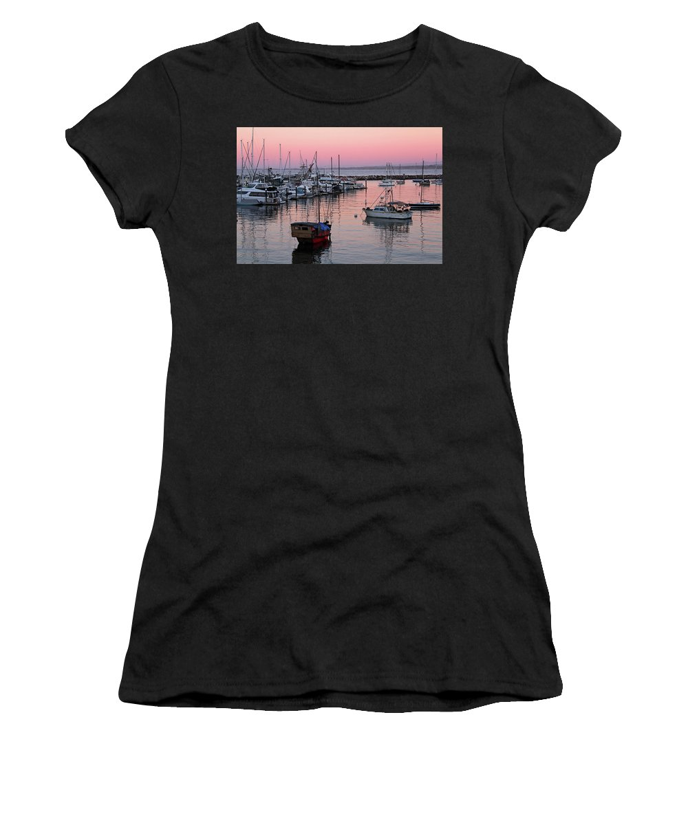 Monterey Women's T-Shirt (Athletic Fit) featuring the photograph Monterey Bay Harbor by Janine Moore