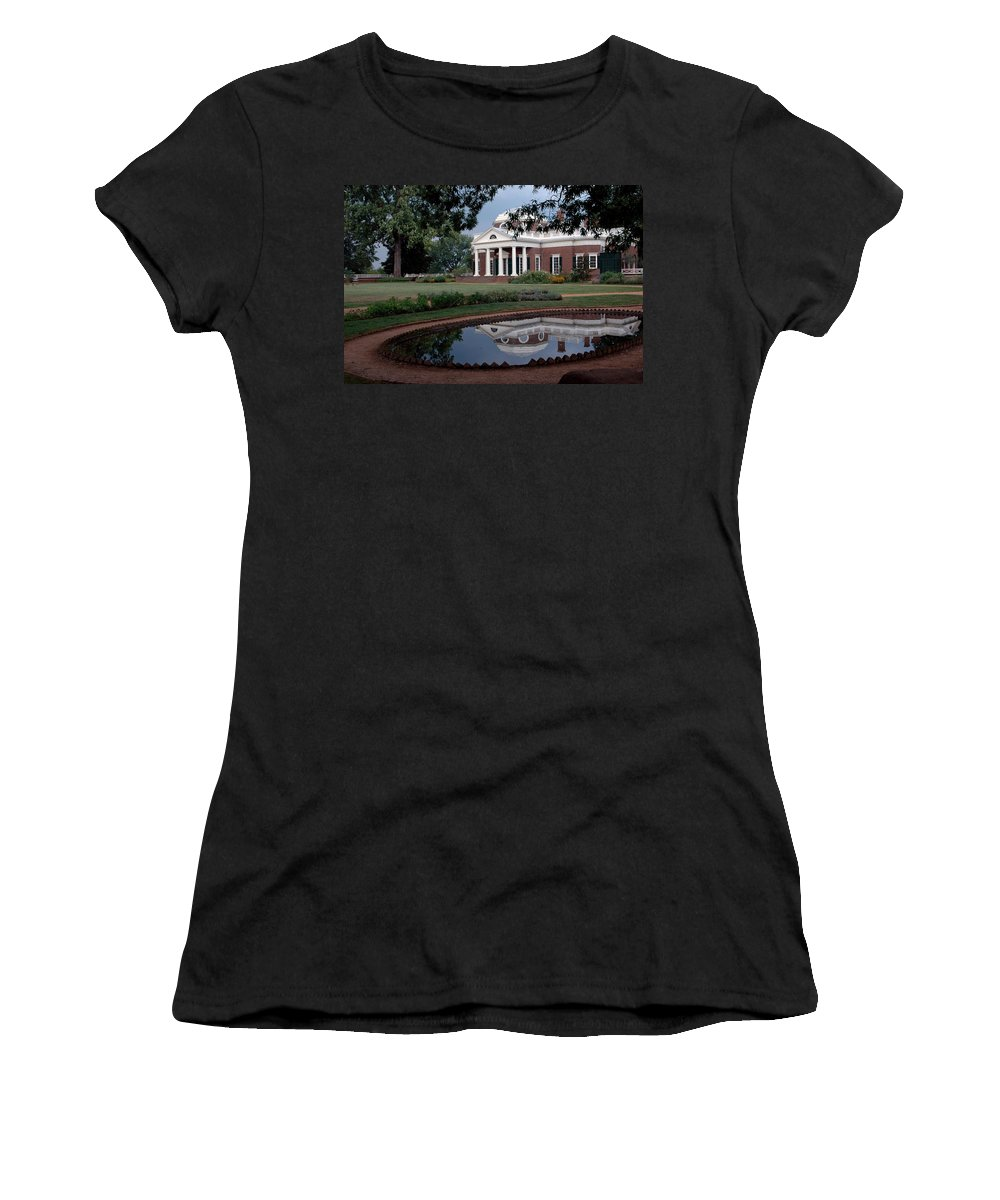 Usa Women's T-Shirt (Athletic Fit) featuring the photograph Monticello Reflections by LeeAnn McLaneGoetz McLaneGoetzStudioLLCcom