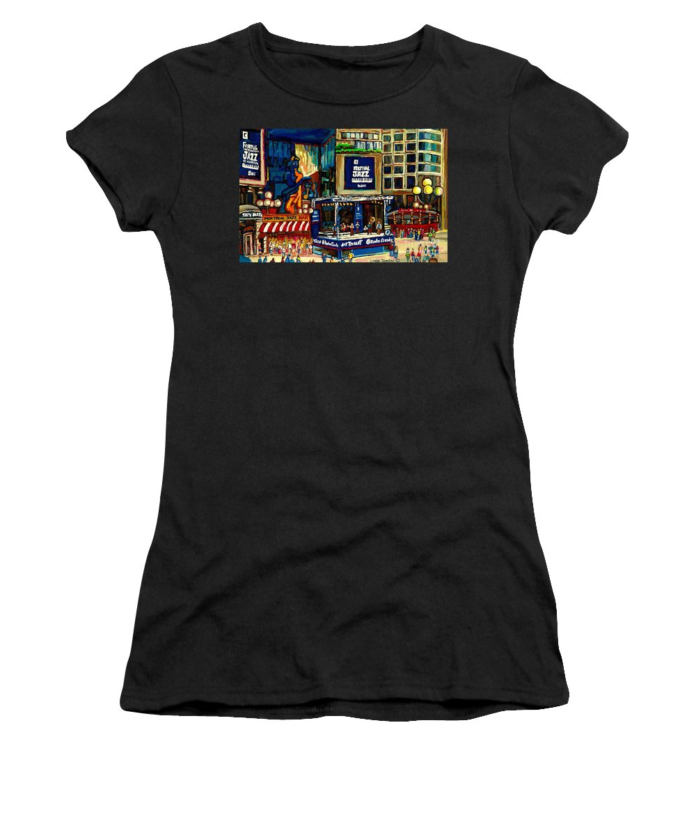 Montreal Women's T-Shirt featuring the painting Montreal Jazz Festival Arcade by Carole Spandau