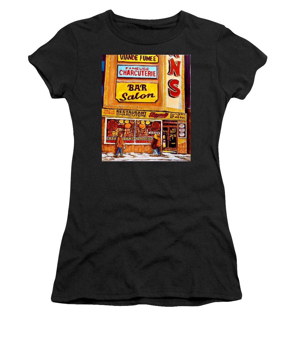 Dunns Women's T-Shirt (Athletic Fit) featuring the painting Montreal Smoked Meat Dunns Restaurant by Carole Spandau