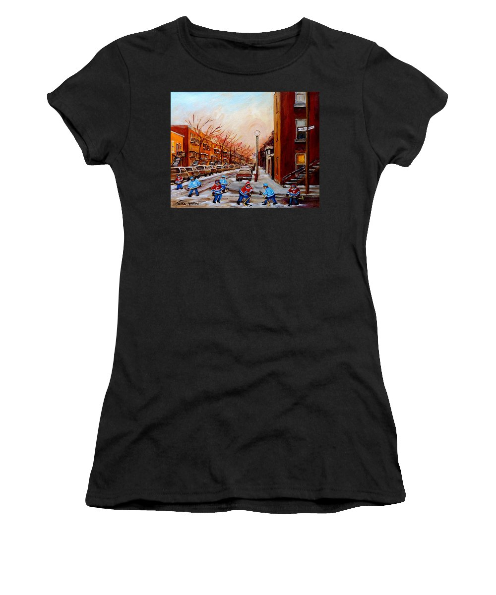 Montreal Streetscene Women's T-Shirt featuring the painting Montreal Street Hockey Game by Carole Spandau