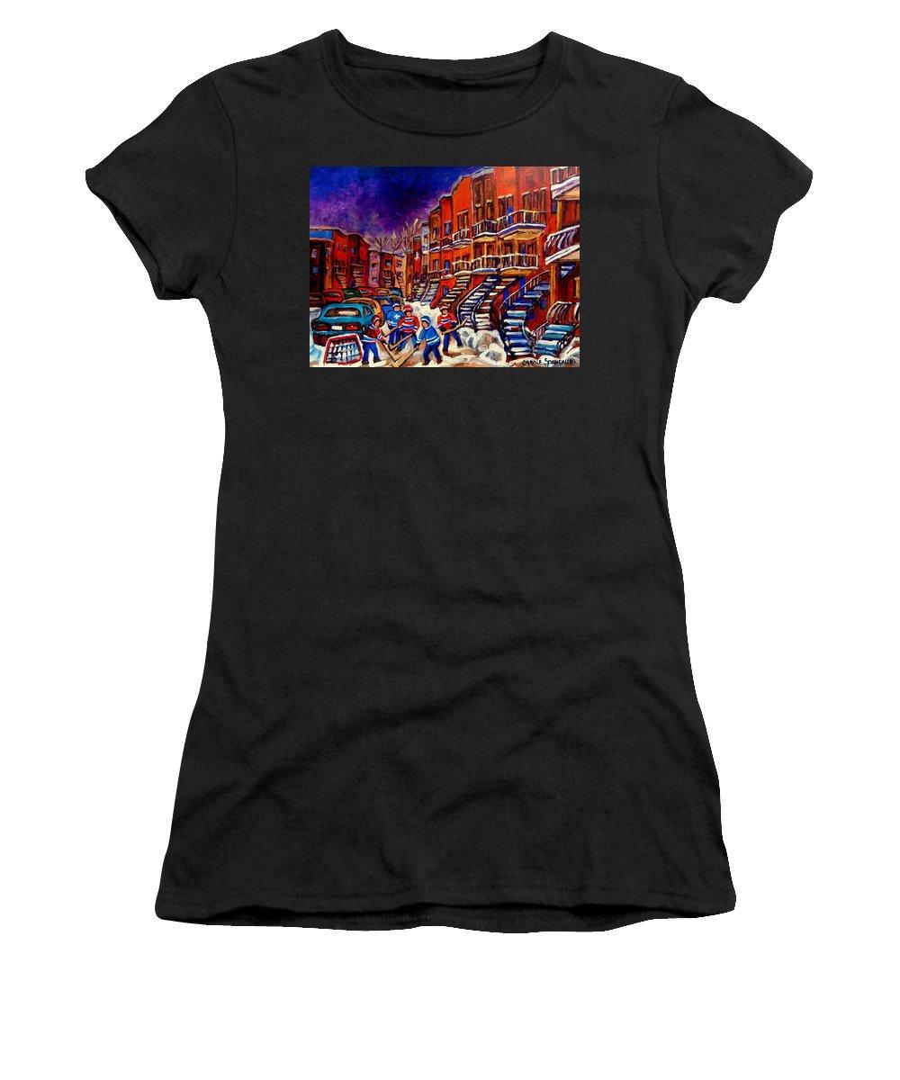 Montreal Women's T-Shirt featuring the painting Montreal Street Scene Paintings Hockey On De Bullion Street  by Carole Spandau