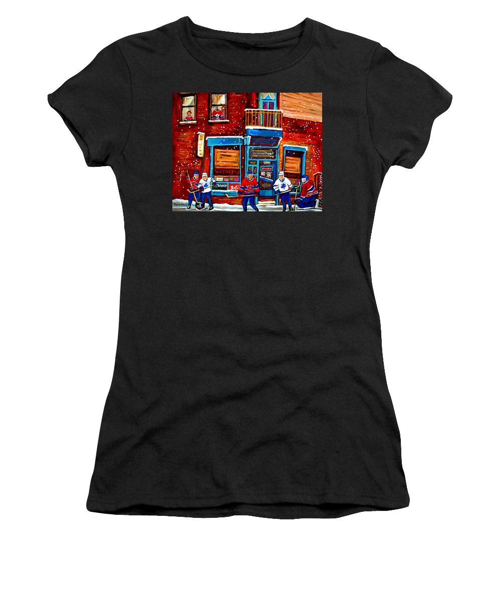 Montreal Women's T-Shirt (Athletic Fit) featuring the painting Montreal Wilensky Deli By Carole Spandau Montreal Streetscene And Hockey Artist by Carole Spandau