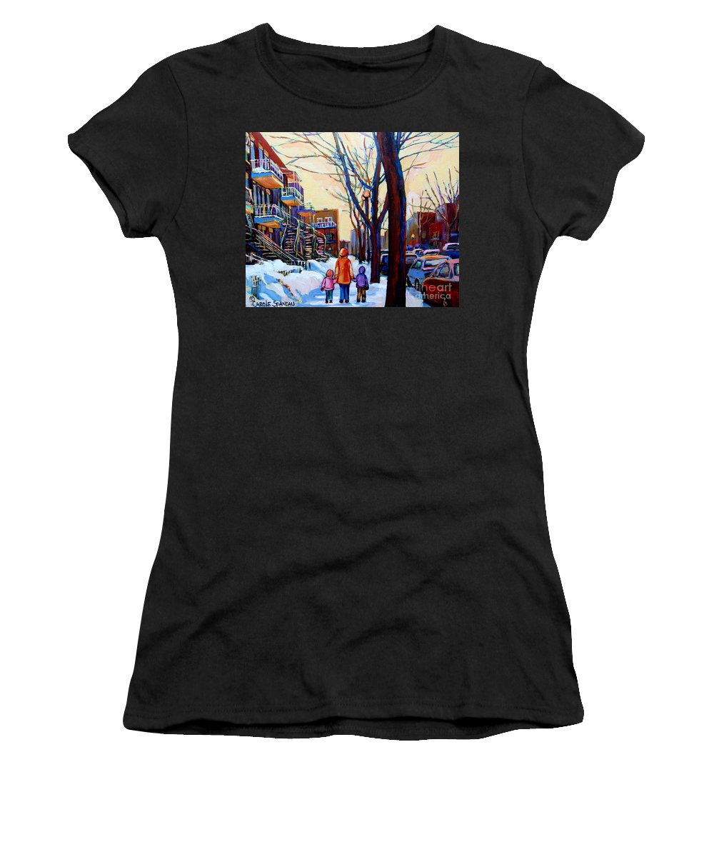 Montreal Women's T-Shirt (Athletic Fit) featuring the painting Montreal Winter by Carole Spandau