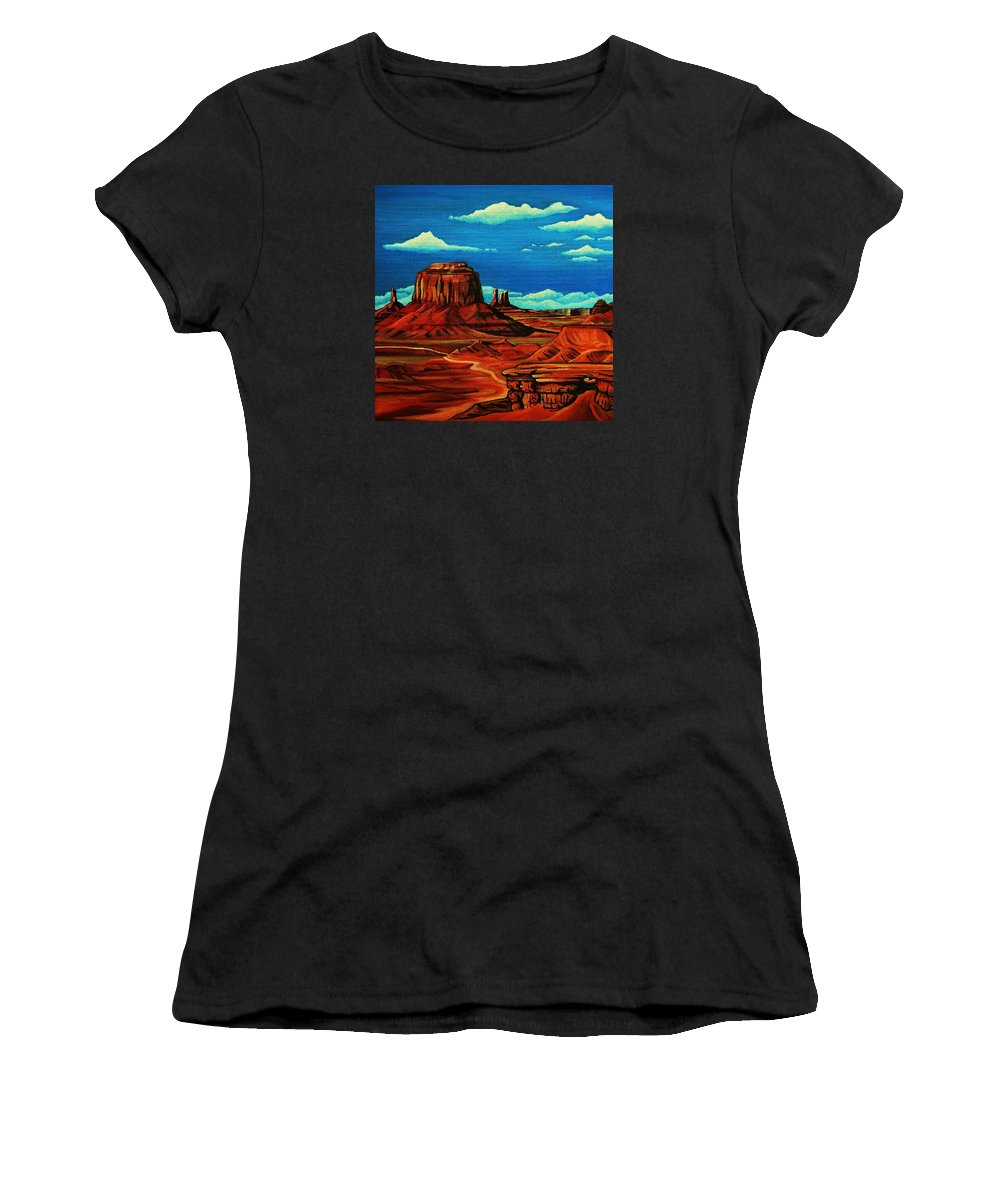 Monument Valley Women's T-Shirt (Athletic Fit) featuring the painting Monument Valley by Lucy Deane