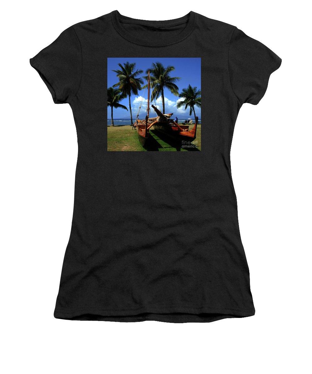 Aloha Women's T-Shirt (Athletic Fit) featuring the photograph Moolele Canoe At Hui O Waa Kaulua Lahaina by Sharon Mau