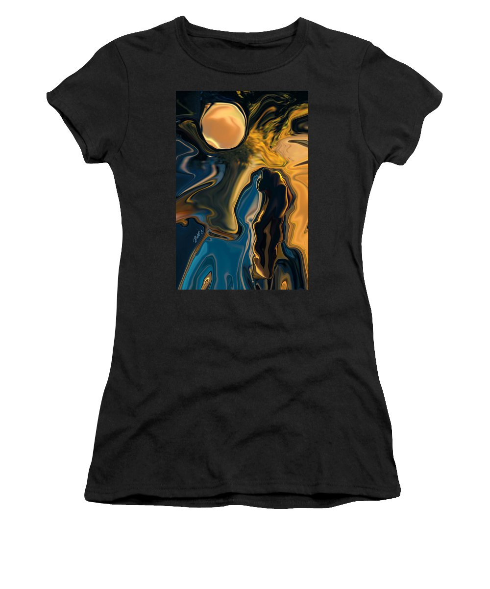 Moon Women's T-Shirt (Athletic Fit) featuring the digital art Moon And Fiance by Rabi Khan
