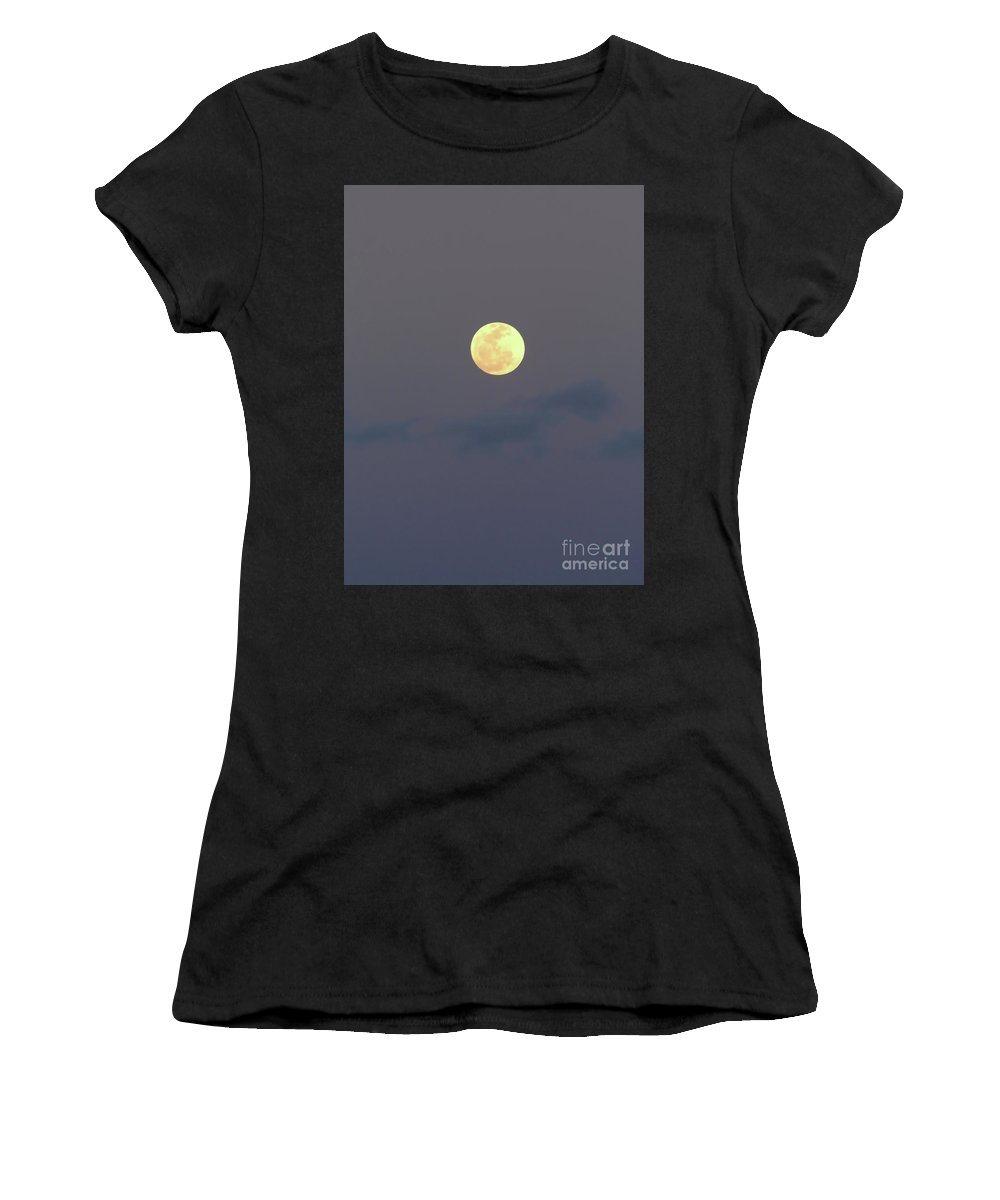 Moon Women's T-Shirt (Athletic Fit) featuring the photograph Moon - Night - Sky by D Hackett
