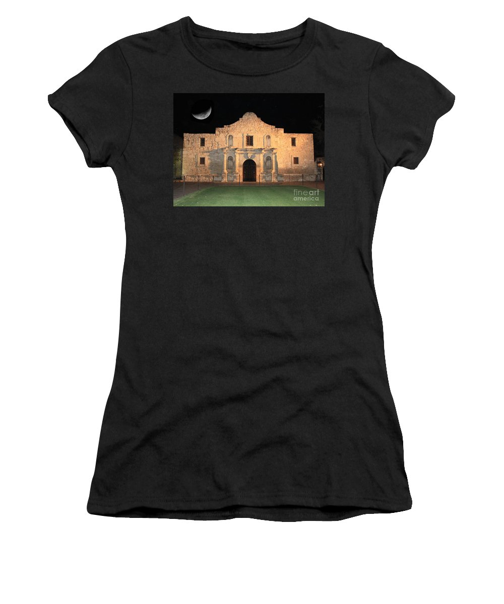 The Alamo Women's T-Shirt (Athletic Fit) featuring the photograph Moon Over The Alamo by Carol Groenen