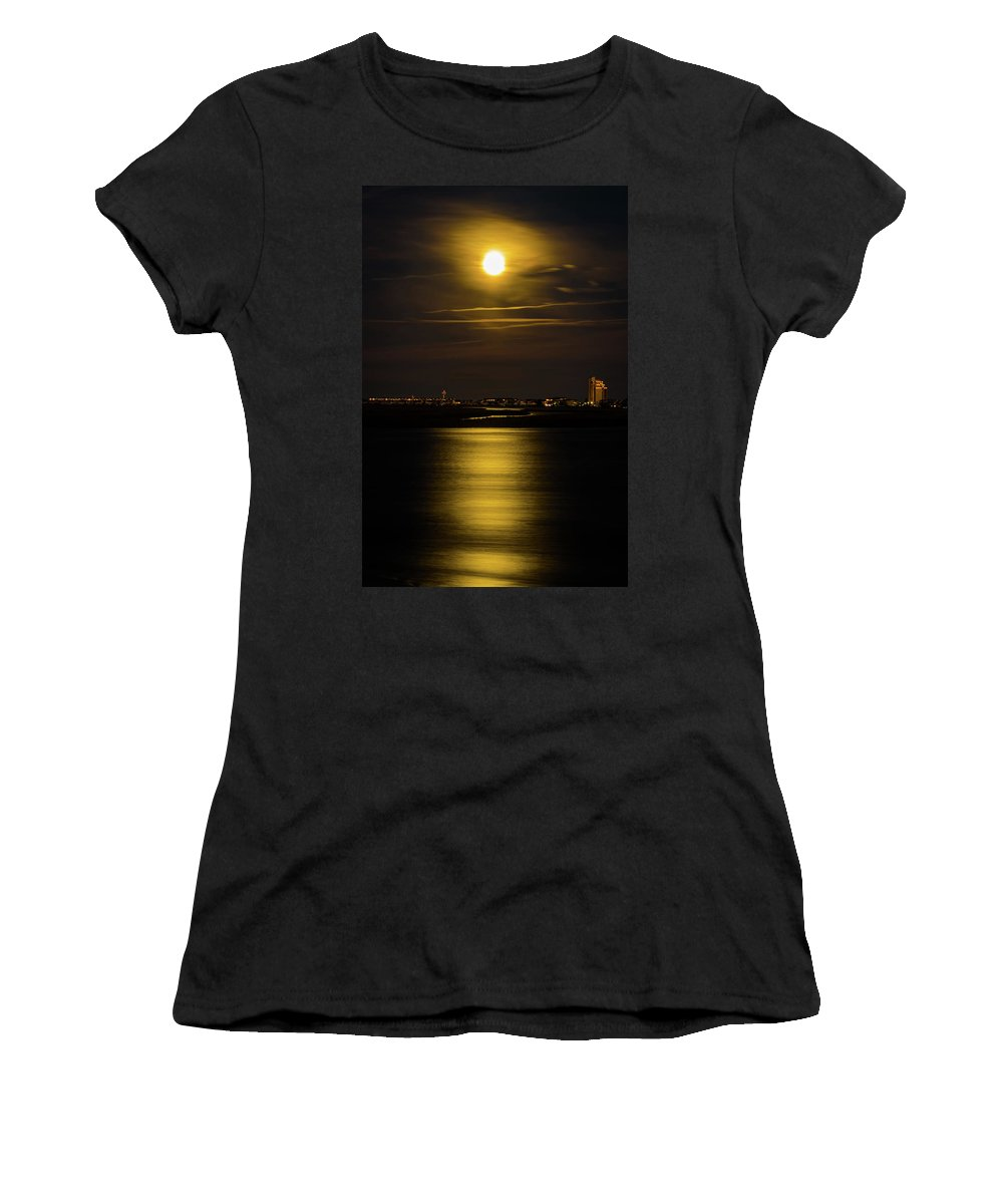 Moon Women's T-Shirt (Athletic Fit) featuring the photograph Moon Over Tubbs by Gerald Monaco