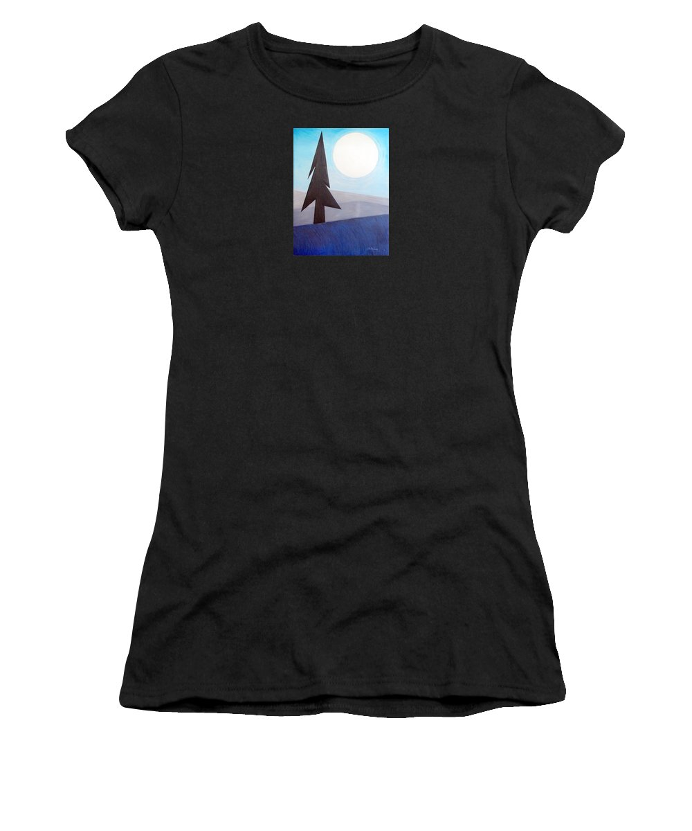 Impressionist Painting Women's T-Shirt (Athletic Fit) featuring the painting Moon Rings by J R Seymour