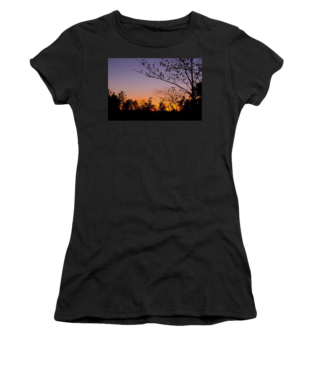 Moon Women's T-Shirt (Athletic Fit) featuring the photograph Moon Rising by Gary Adkins
