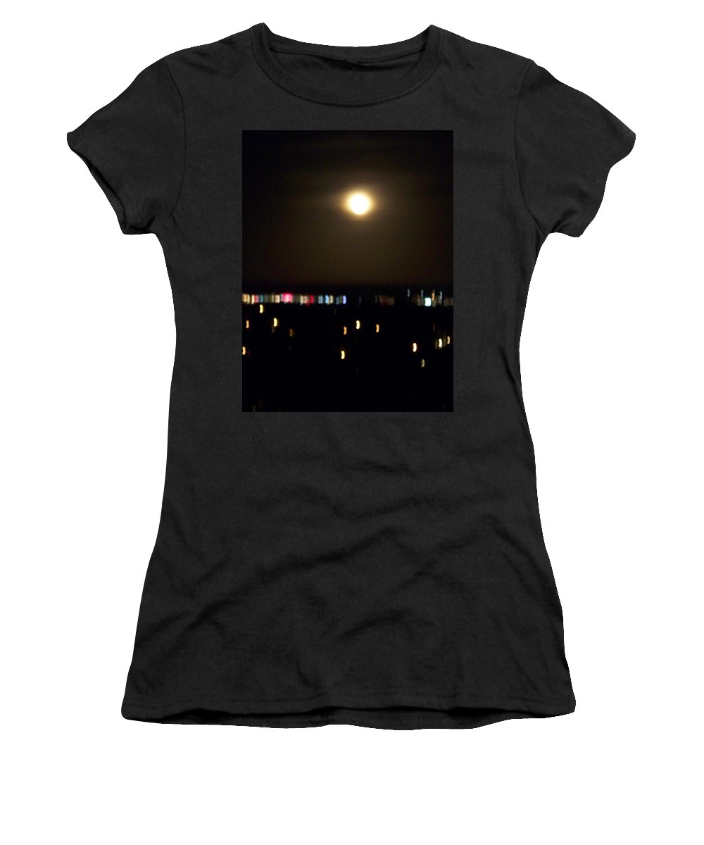 Night Light Women's T-Shirt featuring the photograph Moonglow by Laurie Paci