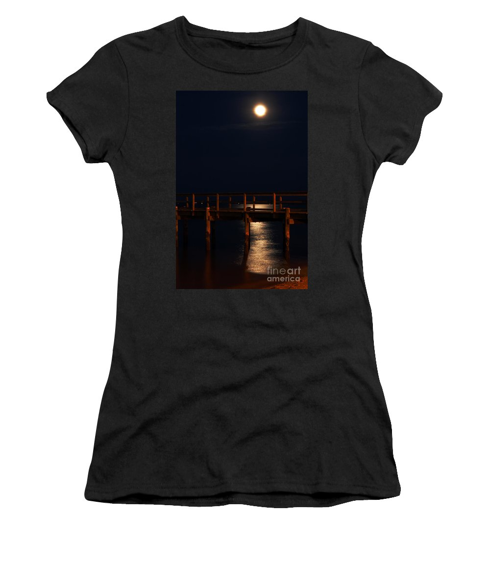 Clay Women's T-Shirt (Athletic Fit) featuring the photograph Moonlight On Water by Clayton Bruster