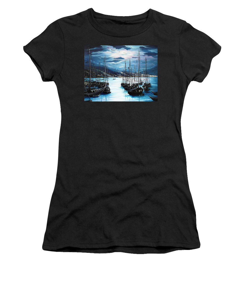 Ocean Painting  Caribbean Seascape Painting Moonlight Painting Yachts Painting Marina Moonlight Port Of Spain Trinidad And Tobago Painting Greeting Card Painting Women's T-Shirt (Athletic Fit) featuring the painting Moonlight Over Port Of Spain by Karin Dawn Kelshall- Best