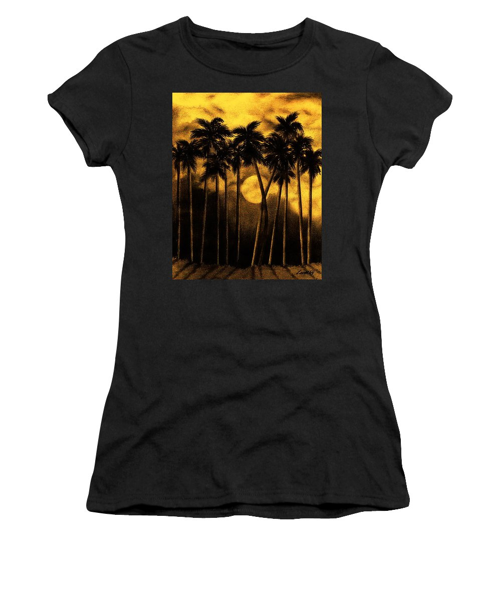 Moonlit Palm Trees In Yellow Women's T-Shirt (Athletic Fit) featuring the mixed media Moonlit Palm Trees In Yellow by Larry Lehman