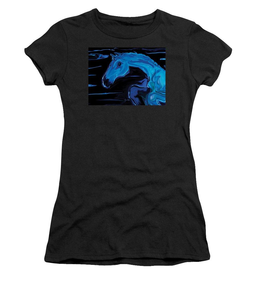 Animal Women's T-Shirt (Athletic Fit) featuring the digital art Moonlit Run by Rabi Khan