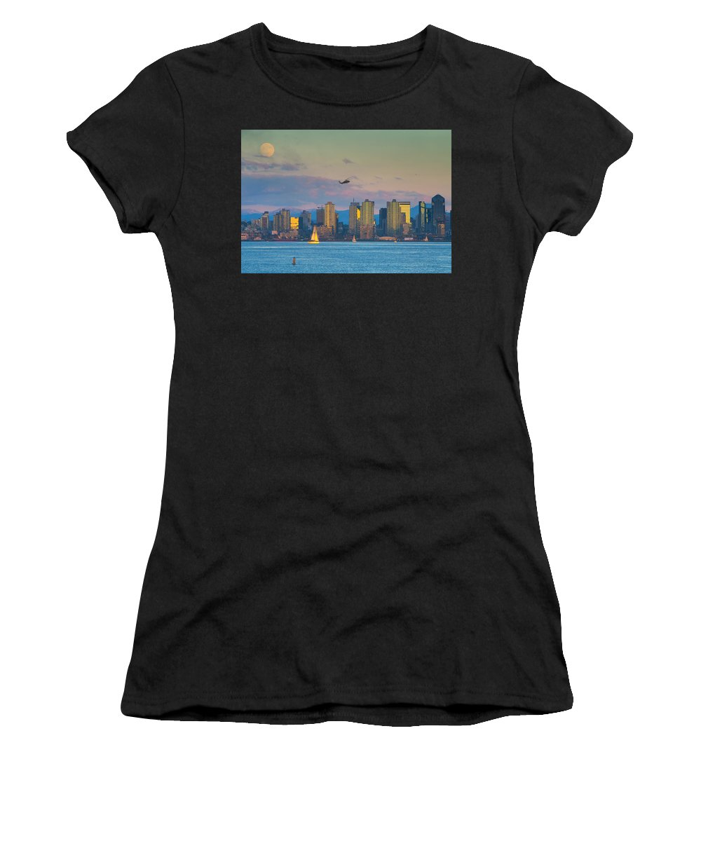 San Diego Women's T-Shirt (Athletic Fit) featuring the photograph Moonrise Over San Diego by Anthony Zeljeznjak