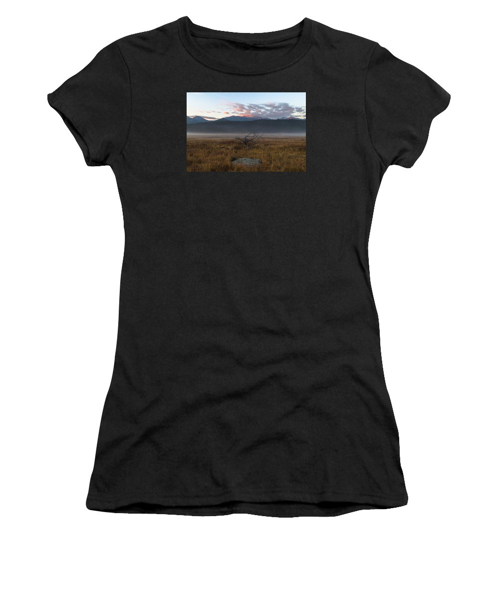 Rmnp Women's T-Shirt (Athletic Fit) featuring the photograph Moraine Valley Fog by Greg McGill