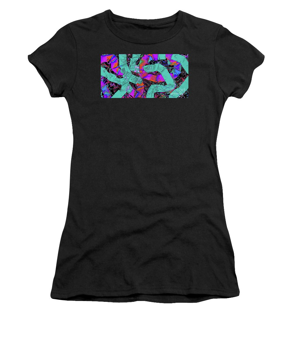 Wide Flat Curving Colorful Dramatic Looped A Pattern Overlapping Strokes Made Of Paper Photographed And Manipulated Digitally To A Vibrant Colorful Conclusion Women's T-Shirt (Athletic Fit) featuring the painting More Paper Snakes by Expressionistart studio Priscilla Batzell