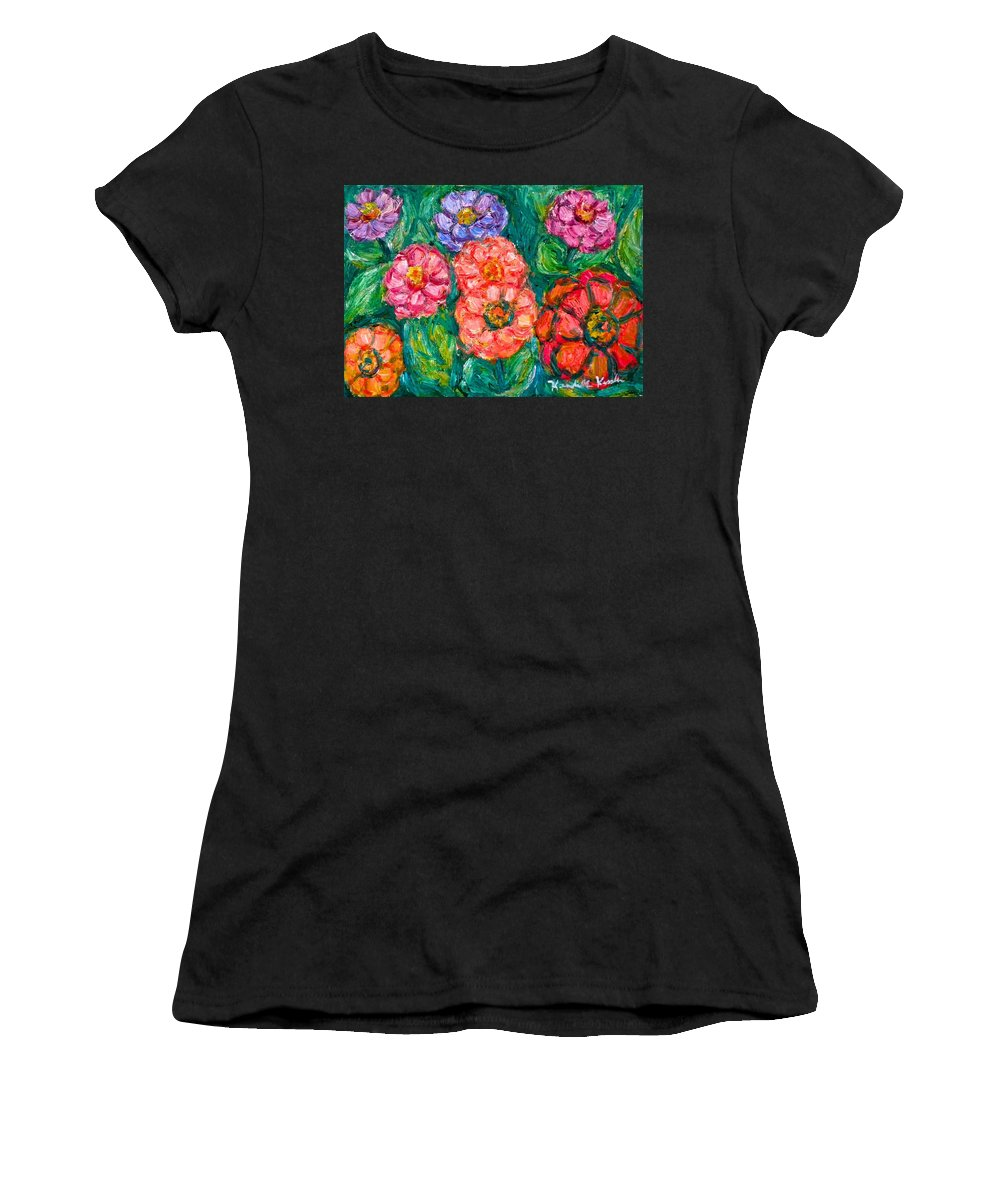 Flowers Women's T-Shirt featuring the painting More Zinnias by Kendall Kessler