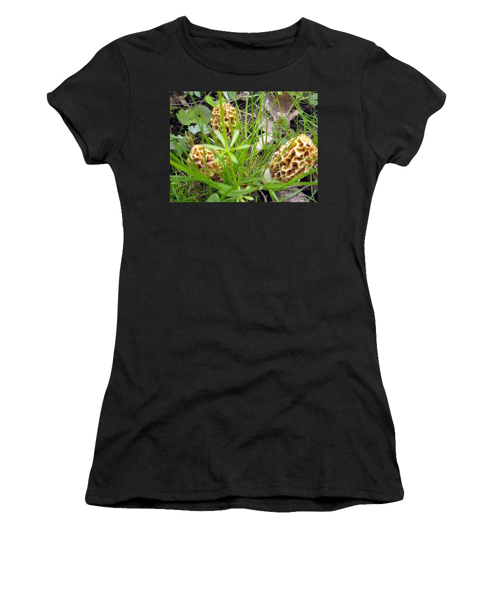 Morel Mushroom Women's T-Shirt (Athletic Fit) featuring the photograph Morel Buddies by Sara Evans