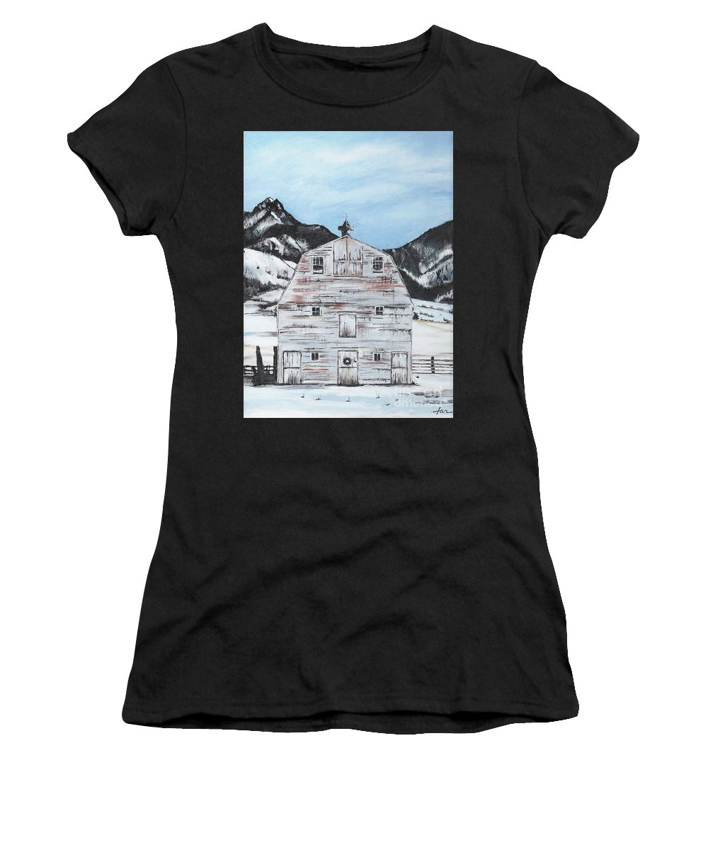 Mountains Women's T-Shirt featuring the painting Morgan Road In Belgrade Mt by Judith Rice