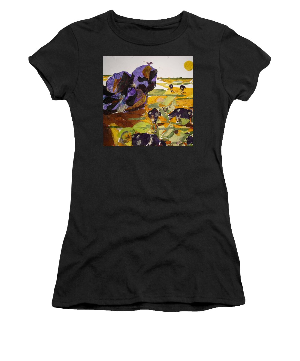 Glory Of Morning Women's T-Shirt featuring the mixed media Morning Activities by Basant Soni