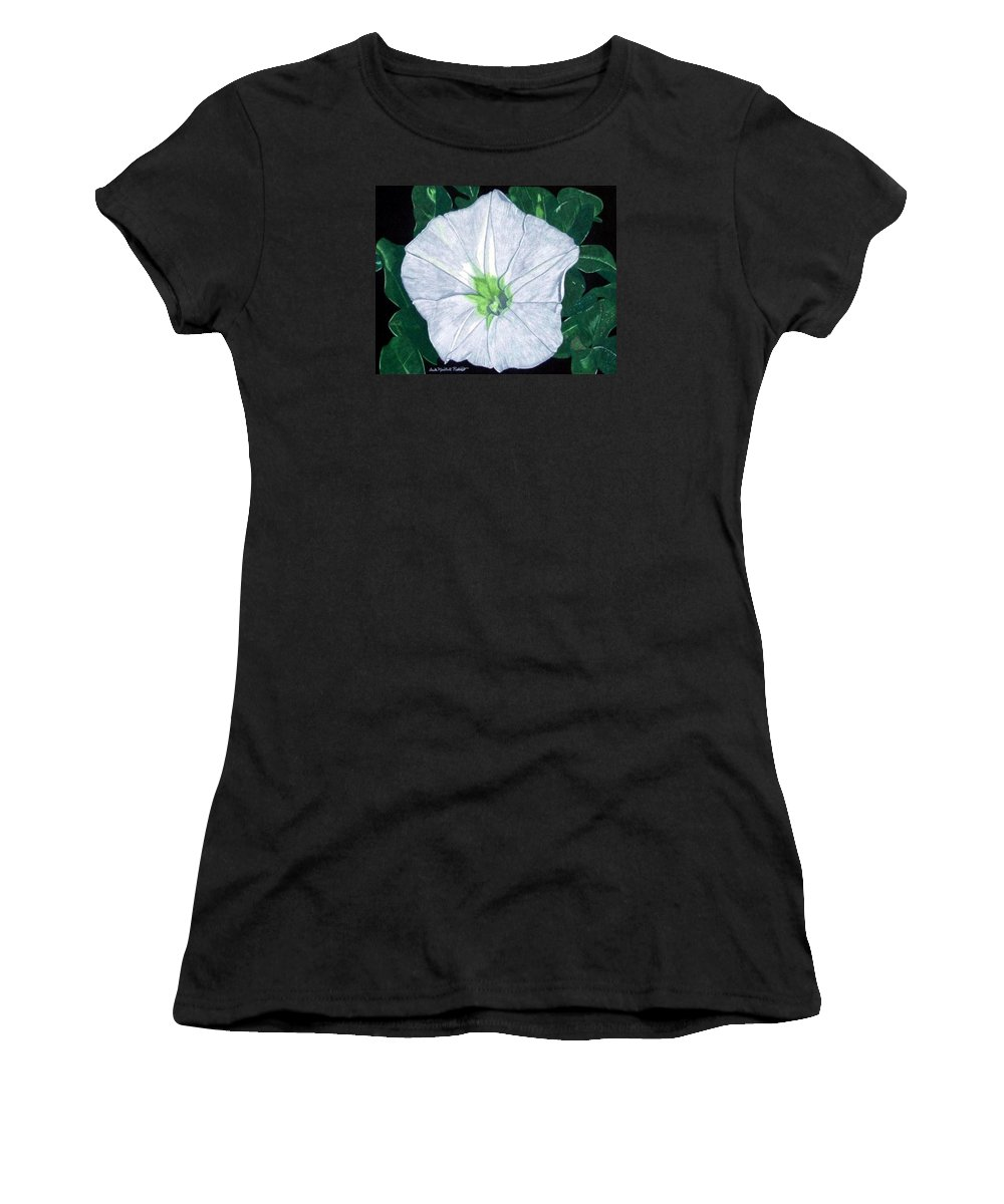 Flower Women's T-Shirt (Athletic Fit) featuring the drawing Morning At The Beach by Anita Putman