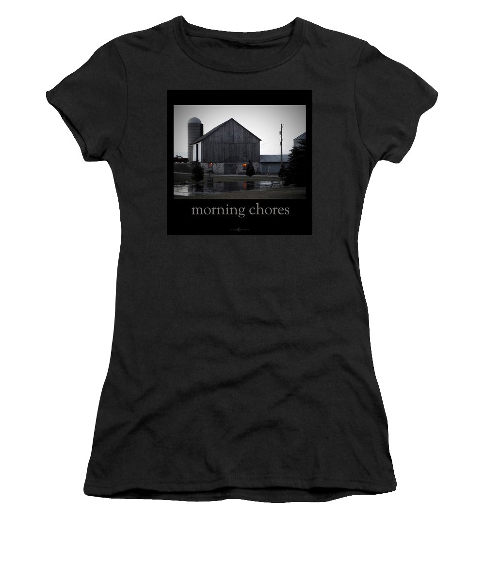 Poster Women's T-Shirt (Athletic Fit) featuring the photograph Morning Chores by Tim Nyberg