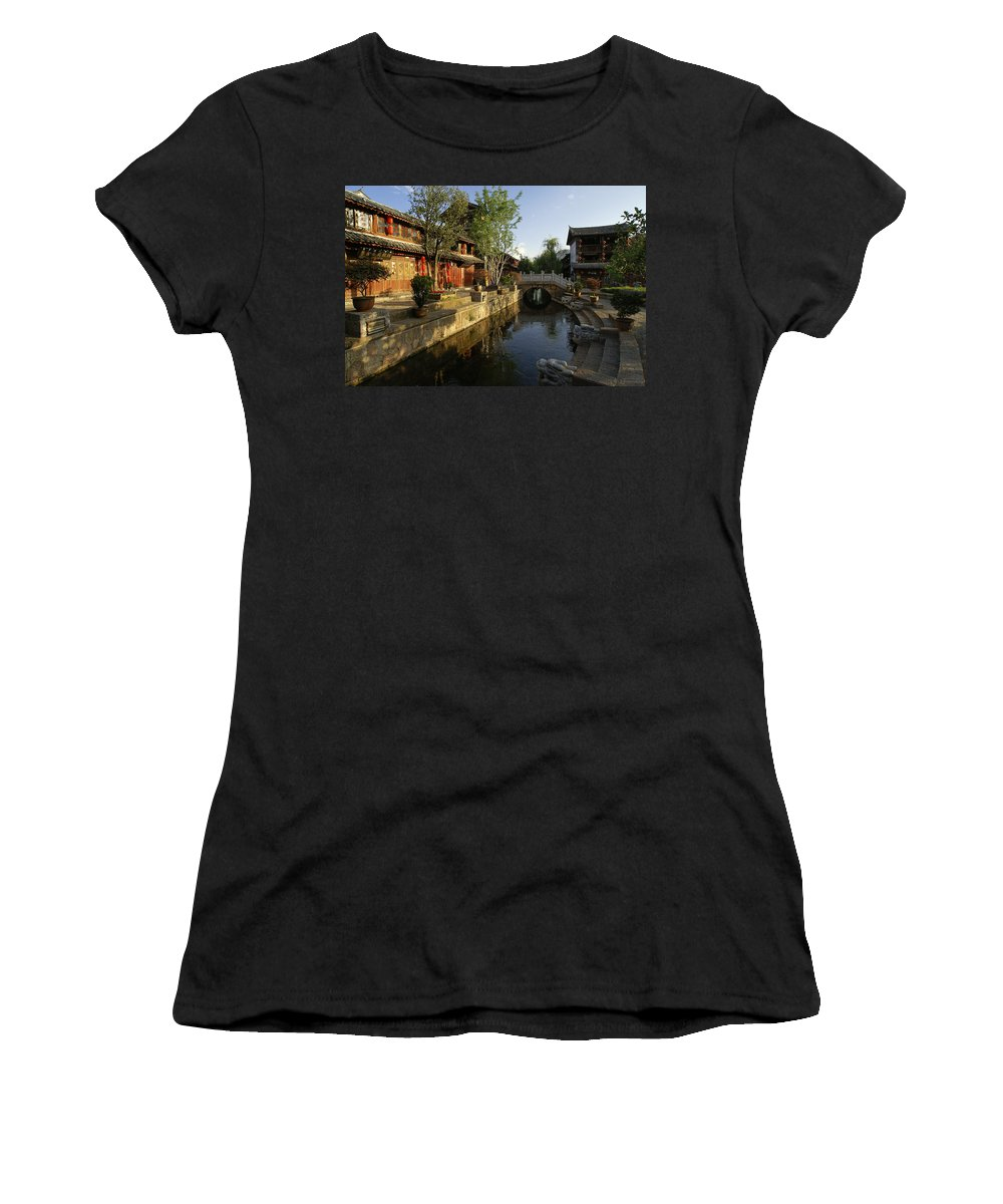 Asia Women's T-Shirt (Athletic Fit) featuring the photograph Morning Comes To Lijiang Ancient Town by Michele Burgess