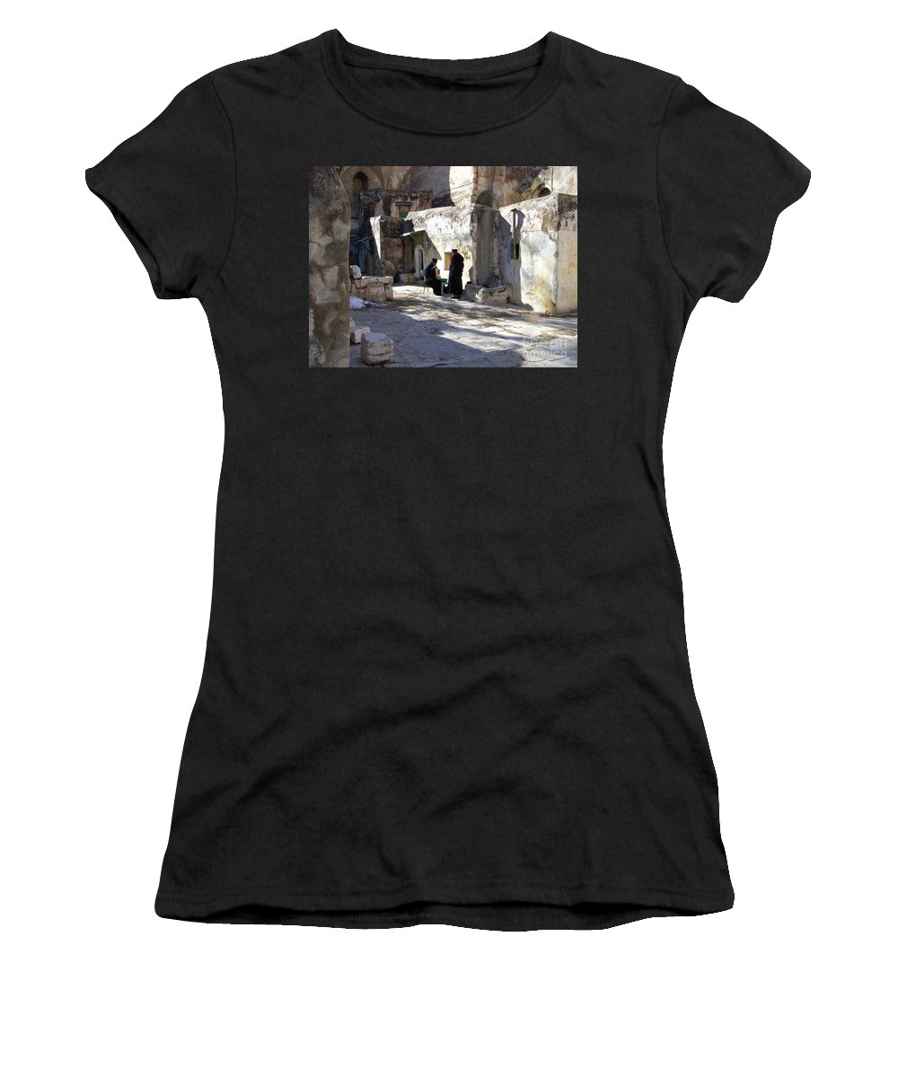 Jerusalem Women's T-Shirt (Athletic Fit) featuring the photograph Morning Conversation by Kathy McClure