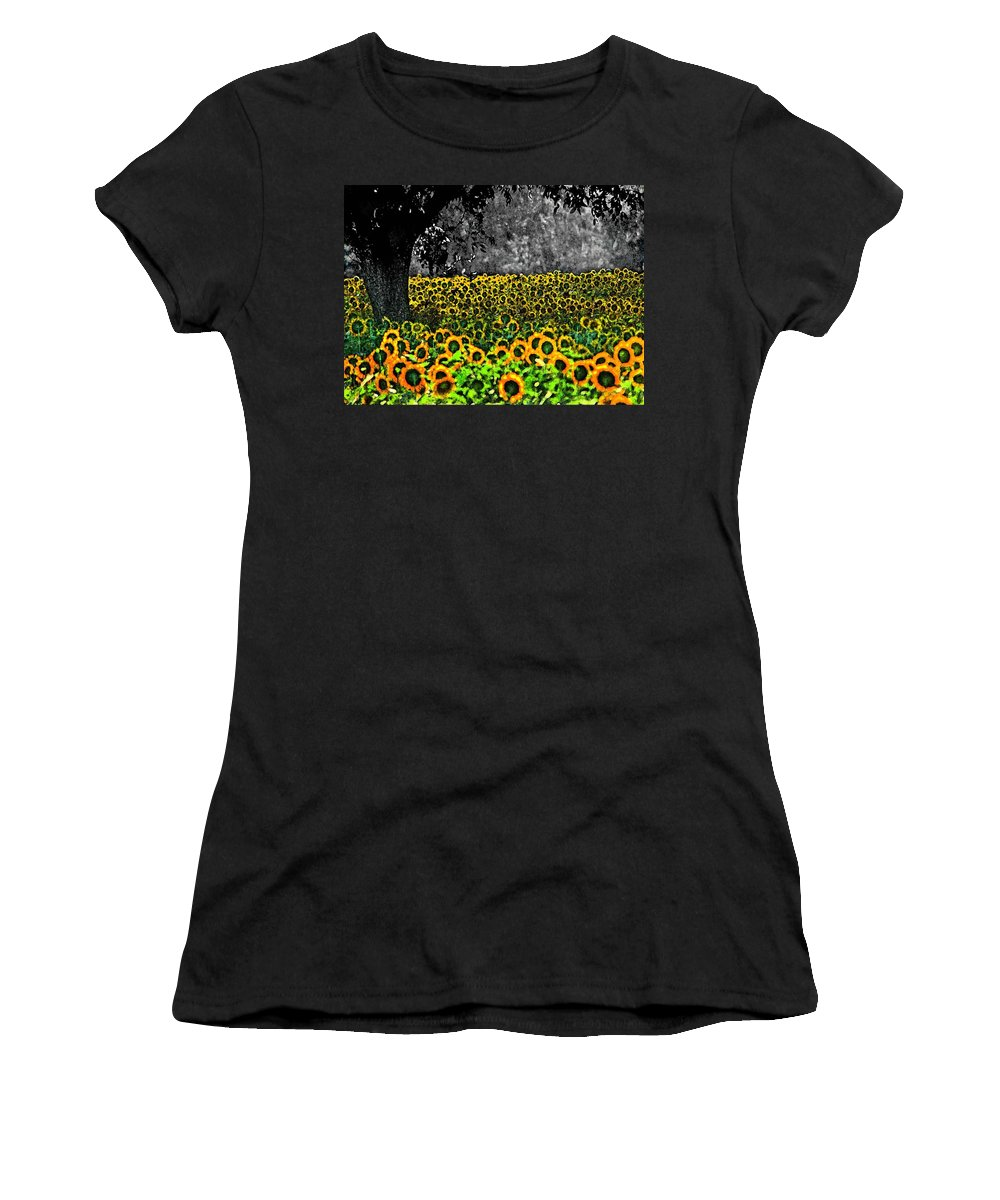Sunflowers Women's T-Shirt (Athletic Fit) featuring the painting Morning Doves And The Sunflower Field by Michael Thomas