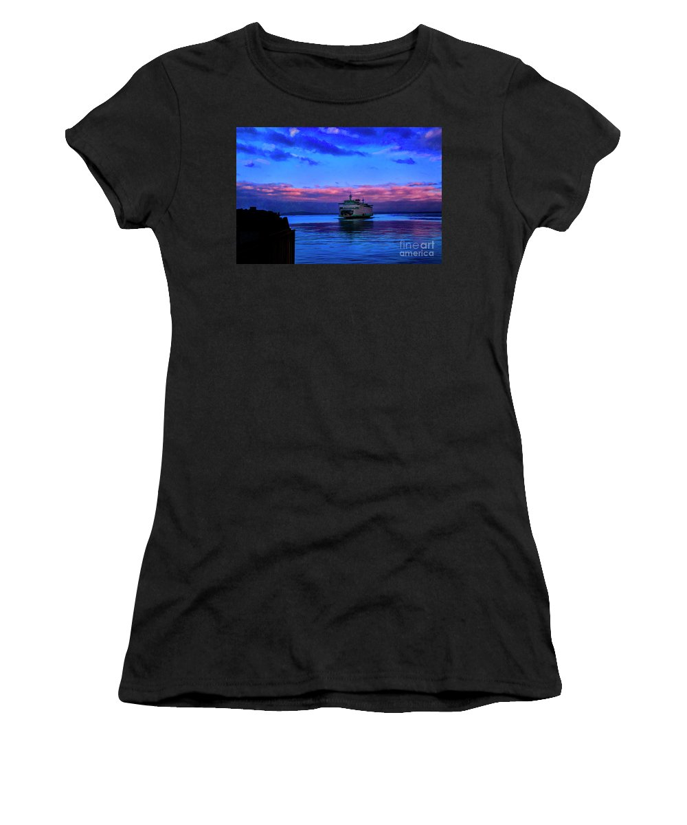 Washington State Seattle Ferries Water Women's T-Shirt (Athletic Fit) featuring the photograph Morning Ferry by Rick Bragan