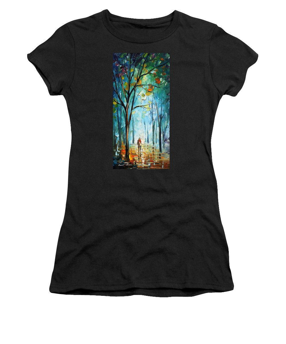 Afremov Women's T-Shirt (Athletic Fit) featuring the painting Morning Fog by Leonid Afremov