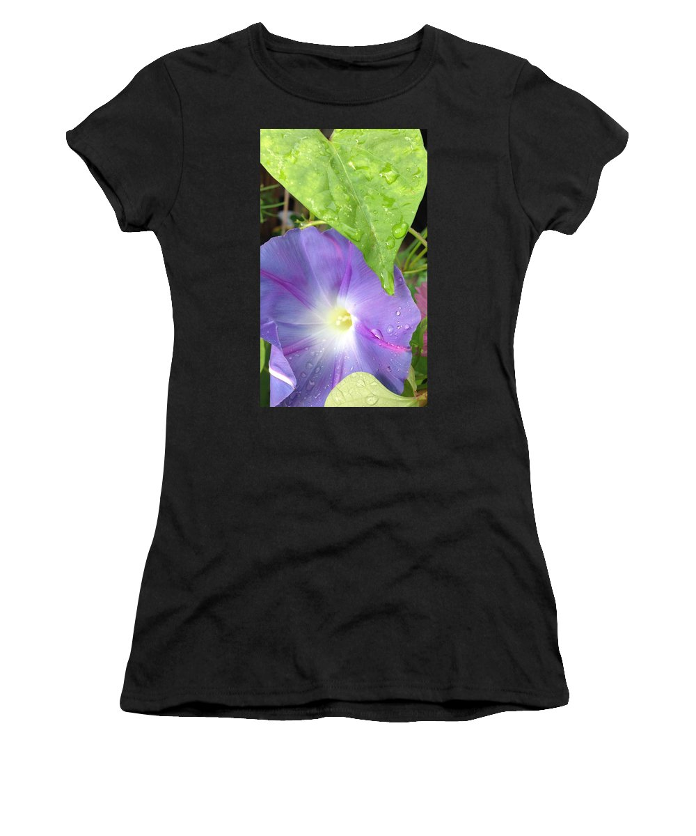 Morning Glory Raindrops Women's T-Shirt featuring the photograph Morning Glory by Deb Schneider