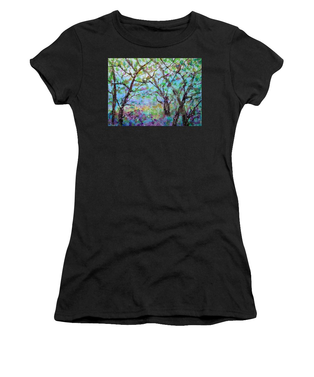 Nature Women's T-Shirt (Athletic Fit) featuring the painting Morning Glory by Natalie Holland