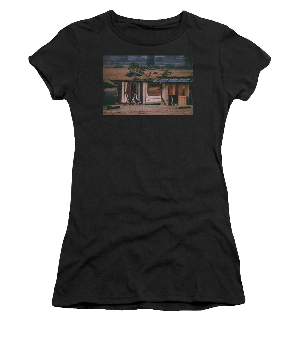 Sunrise Women's T-Shirt (Athletic Fit) featuring the photograph Morning Goose Parade by Nathaniel H Broughton