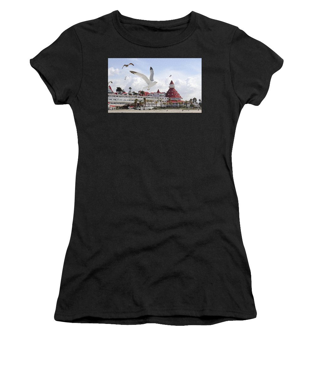 Beach Women's T-Shirt featuring the photograph Morning Gulls On Coronado by Margie Wildblood