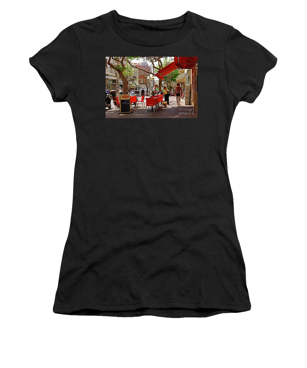 Morning Women's T-Shirt (Athletic Fit) featuring the photograph Morning On A Street In Tel Aviv by Zal Latzkovich